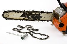 Chain Saw With Replacement Chain Stock Image