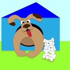 Dog In The Doghouse Royalty Free Stock Images