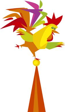 Rooster On Weather Vane Stock Photo