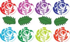 Varicoloured Abstract Roses And Leaves Stock Images