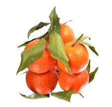 Three Ripe Tangerines With Leaves. Royalty Free Stock Photography