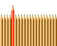 Free Pencils And One Red Pencil Royalty Free Stock Photography - 22953157