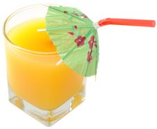 Free Glass Of Orange Juice With Umbrella Straw Stock Photography - 22960342