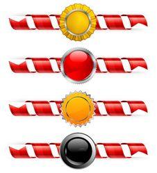 Spiral Ribbon & Label Royalty Free Stock Photos