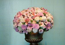 Free Bouquet Of Flowers In A Brass Vase Royalty Free Stock Photos - 22961878