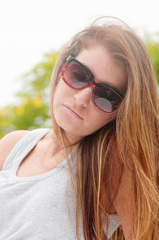 Teen Girl With Long Hair And Sunglasses Royalty Free Stock Images