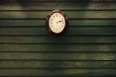 Free Old Wooden Wall With Clock Royalty Free Stock Photo - 22966565