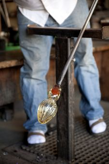 Free Glass Blower Shaping Molten Glass Stock Image - 22967471
