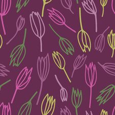 Free Seamless Pattern With Stylized Tulips Royalty Free Stock Photos - 22969358