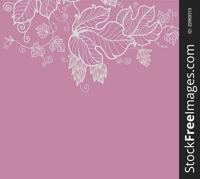 Floral greeting card in pink tones