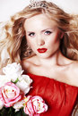 Free Beautiful Young Lady Wearing Red Rose Dress Stock Image - 22976851