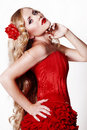 Free Beautiful Young Lady Wearing Red Rose Dress Royalty Free Stock Image - 22976936