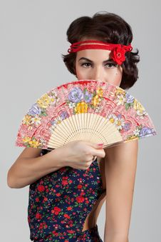 Free Woman With A Fan Stock Photography - 22970322