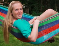 Free Pretty Girl In A Hammock Royalty Free Stock Photography - 22971467