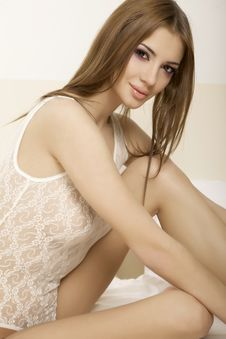 Free Beautiful Brunette In Bed Stock Image - 22971861