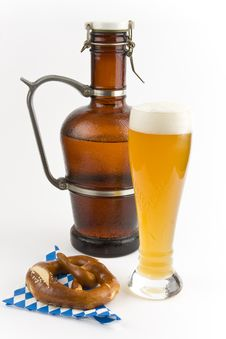 Wheat Beer And Pretzel Stock Images