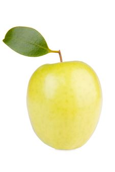 Free Golden Delicious Apple With Leaf Royalty Free Stock Images - 22975699