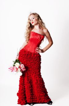 Free Beautiful Young Lady Wearing Red Rose Dress Royalty Free Stock Photography - 22976767
