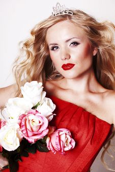 Free Beautiful Young Lady Wearing Red Rose Dress Royalty Free Stock Image - 22976906