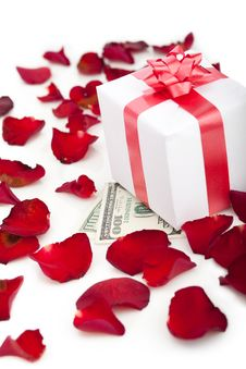 Free Gift Box, Rose Petals On White Background. Royalty Free Stock Images - 22977049