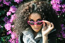 Free Funny Black Girl With Purple Heart Glasses Stock Photos - 22979993