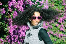 Free Funny Black Girl With Purple Heart Glasses Stock Photos - 22980033