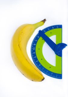Free Banana And Cumpass  Protractor Stock Images - 22983654