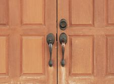 Wooden Doors With Handle Royalty Free Stock Images