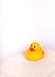 Free Rubber Duck On White Towel Stock Image - 22984961