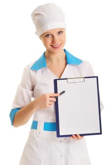 Free Woman Doctor With An Advertising Tablet Stock Photo - 22985680