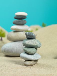 Free Zen Rocks Towers In Miniature Landscape Royalty Free Stock Photography - 22986897