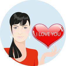 Free Girl With Red Heart: Valentines Day Illustration Royalty Free Stock Photos - 22988278