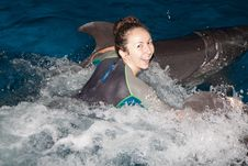 Free Happy Girl And Dolphin Stock Photo - 22988280