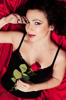 Woman And Red Rose Stock Photos