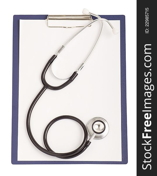 Worksheet with blank paper and stethoscope