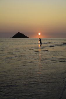 Fisherman At Sunrise Stock Images