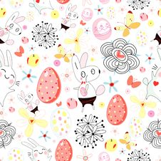 Free Texture Of Easter Rabbits And Eggs Royalty Free Stock Images - 22996129