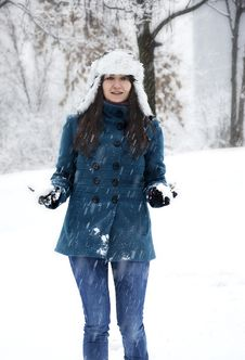 Free Woman Playing With Snow Royalty Free Stock Photo - 22997365