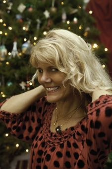 Free Middle Age Woman At Christmas Royalty Free Stock Photography - 22997877