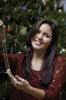 Free Beautiful Young Woman At Christmas Royalty Free Stock Photography - 22998257