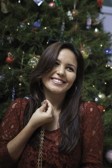 Free Beautiful Young Woman At Christmas Royalty Free Stock Image - 22998286