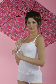 Brunnete With Umbrella Stock Photos