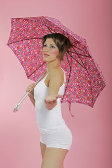 Free Brunette With Umbrella Stock Image - 234121