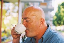 Free Bald Head Enjoying Coffee And Cigarette Royalty Free Stock Photos - 237918