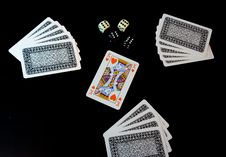 Playing Cards And Dices Royalty Free Stock Photo