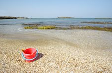 Free Empty Beach With Sand Toy Stock Photography - 2304702