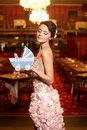 Free Bride Wedding Dress Restaurant With Perambulator Royalty Free Stock Image - 23006036
