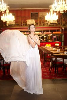 Free Bride In Flying Wedding Dress In The Restaurant Royalty Free Stock Photos - 23005928