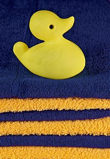 Toy Duck On The Towels Stock Images
