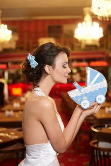 Free Bride Wedding Dress Restaurant With Perambulator Stock Photography - 23006032